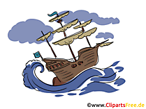 海の嵐のクリップアート船