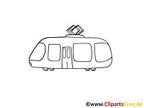 Tram Zeichnung, Grafik schwarz-weiss, Clipart, Bild