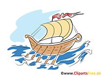 バイキング船のイメージ、クリップアート、イラスト