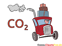 C02 in cars stock illustration, picture, clip art