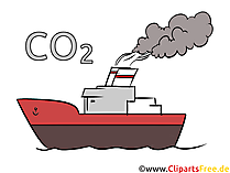 Co2 emissions from ships stock illustration, clip art, picture