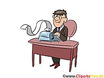 Arbeit im Büro, Schreibmachine, Buchhalter Clipart, Comics, Cartoon