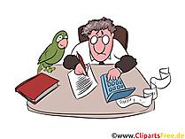Buchführung Clipart, Office Illustration, Mann am Arbeitstisch