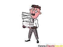 Buchhalter im Stress Clipart, Bild, Illustration, Grafik
