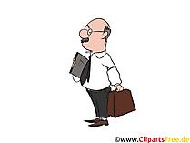 Buchhalter mit Tasche und Akten Clipart, Bild, Illustration