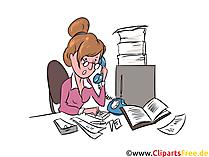 Sekretärin Illustration, Clipart, Grafik, Comic, Cartoon