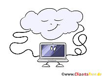Notatbok koblet til sky, dataoverføring utklipp, bilde, illustrasjon