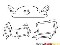 Svart og hvitt utklipp cloud computing