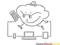 Svart og hvitt clipart cloud computing gratis