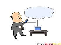 Smarttelefon, og, datamaskin, koblet, til, sky, med, data Utklipp kunst, illustrasjon