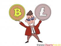 Bitcoin vs Litecoin crypto clipart