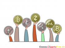 Kryptomønter billede, grafik, clipart