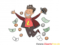 Crypto trading, lykkelig mann bilde, illustrasjon, utklipp