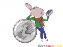 Litecoin-billede, clipart, illustration