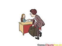 Vorstellungsgespräch Clipart, Assistentin Illustration