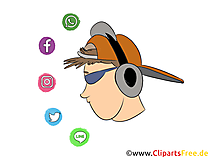 Pria keren dengan clipart headphone, ilustrasi, gambar