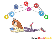 Obrolan gadis di web dengan clip art teman, gambar, ilustrasi
