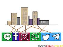 Megapolis dihubungkan oleh jejaring sosial clipart, ilustrasi