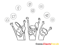 clipart hitam dan putih anak-anak senang angkat tangan - gambar internet