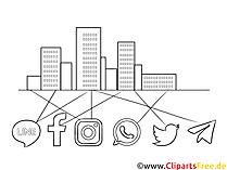 Lanskap perkotaan clipart hitam dan putih dan jaringan di jejaring sosial
