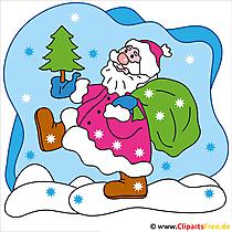 クリップアートアートWeihnachten Weihnachtsmann mit Tannenbaum