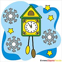 クリップアートクリスマスの壁掛け時計