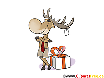 Alce con regalo per Natale clip art, foto, illustrazione