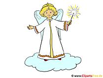 雲のイラスト画像の天使