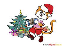 イラスト猫とクリスマスツリー