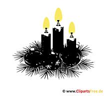 Kranz mit Kerzen zu Weihnachten Clipart