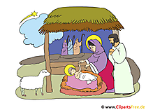 Geboorte van Christus Kerstmis clipart illustratie