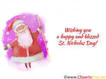 Greetings to Santa Claus greeting card, clipart, picture