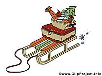 Rodelschlitten Bild - Clipart zu Weihnachten