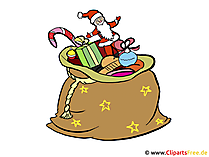 Sack mit Weihnachtsgeschenken - Weihnachtskarten selbst gestalten