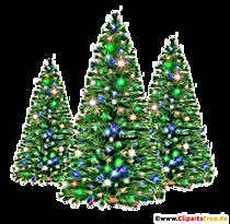 Trois sapins de Noël PNG Clipart