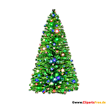 Clipart de sapin de Noël décoré