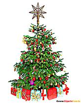 Arbre de Noël vert illustration avec des décorations