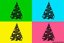 Illustration Pop Art avec quatre arbres de Noël