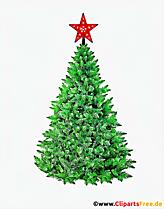 Sapin avec étoile rouge pour Noël clipart
