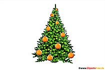 Arbre de Noël décoré de boules clipart