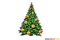 Arbre de Noël décoré d'illustrations d'oranges, photo, clipart