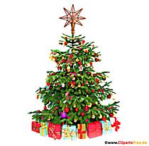 Arbre de Noël avec clipart cadeaux, illustration, photo