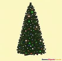 Arbre de Noël avec photo de guirlandes lumineuses, illustration, clipart