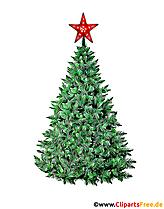 Arbre de Noël avec photo étoile rouge, illustration, clipart