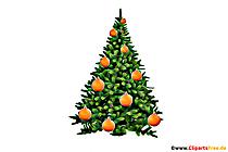 Arbre de Noël boules orange clipart