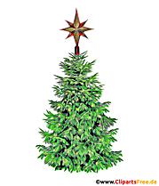 Arbre de Noël avec clipart étoile, image, bande dessinée