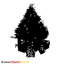 Kerstboom Silhouethorloge Clipart