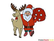 クリスマスクリップアートサンタと鹿