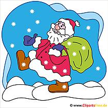 雪の中でクリスマスクリップアートサンタクロース