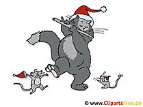 Weihnachtsgrafik Katze und Mäuse